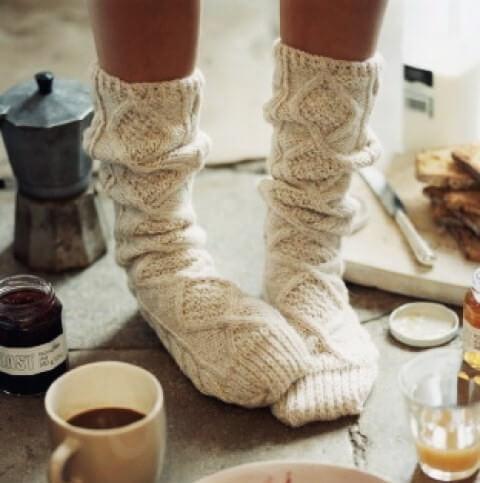 Ciepłe skarpety naprzeziębione stopy