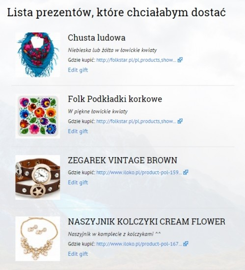 Lista prezentów na WordPress